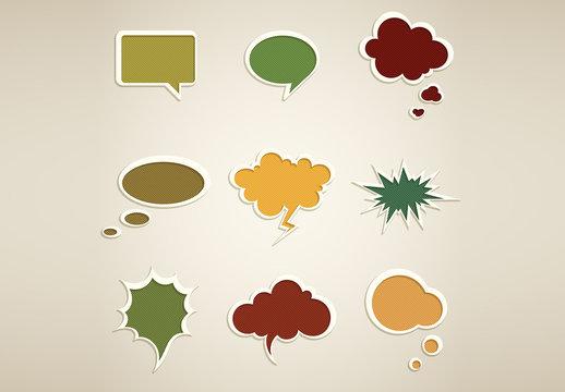 Retro Style Speech Bubble Icons