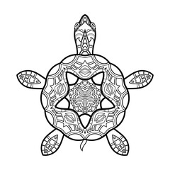 Vector Tribal Decorative Turtle. Isolated Animal On White Background