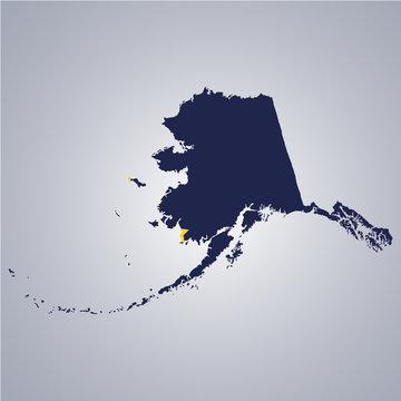 Territory of Alaska on grey background