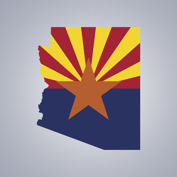 Territory and flag of Arizona on grey background