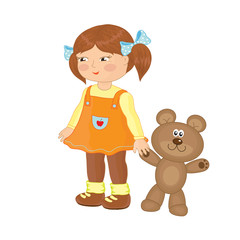 Wall Murals Bears Маленькая девочка с плюшевым мишкой