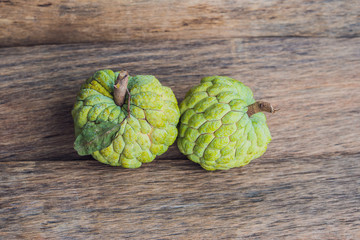 Cherimoya fruit on the table, ready to be eaten