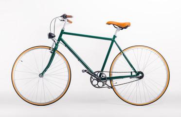 Vintage retro styled bicycle on white background