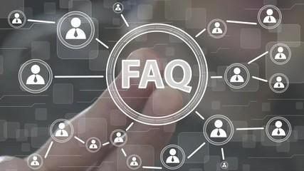 Wall Mural - Businessman presses button FAQ network online