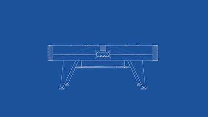 3d rendering of an outlined billiard table