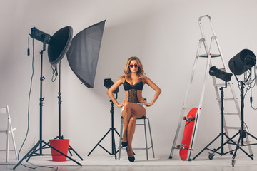 Woman in photo studio