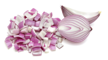 Finely sliced red onions or shallots isolated on white background