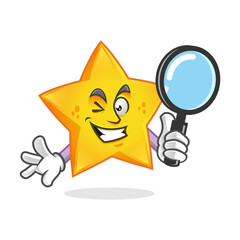 Search star mascot holding magnifying glass, star character, star cartoon vector