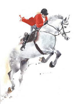 Horse jumping sport jockey watercolor painting illustration isolated on white background