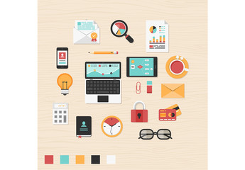 Colorful Business and Tech Icon Set 1