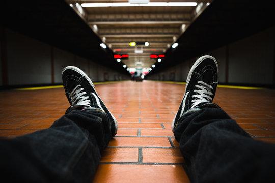 Vans Sneakers on Train Platform