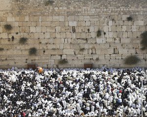 Blessing Cohen at the Western Wall on Sukkot holiday in Jerusalem