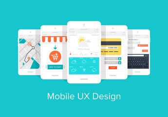 Colorful Mobile UX Design Icon Set 1