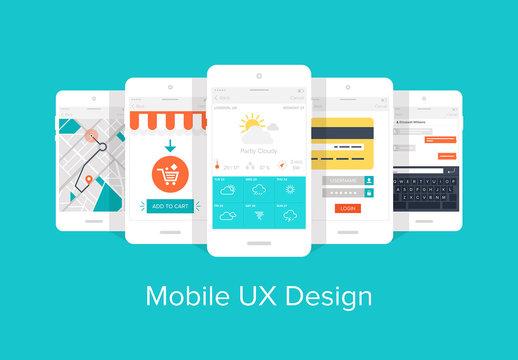 Colorful Mobile UX Design Icon Set 1