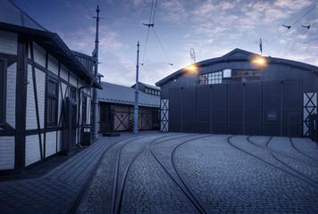 Historic tram depot in Jewish Quarter of the Kazimierz district in Krakow, Poland