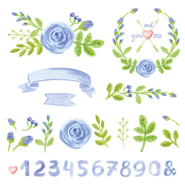 Watercolor blue floral decor set with numbers