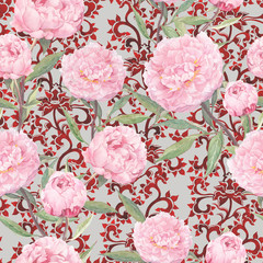 Pink peony flowers at red chinese ornament. Floral repeating asian pattern, traditional ornate decor. Watercolor
