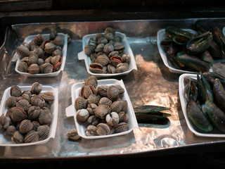 Fresh mollusks lying in substrate