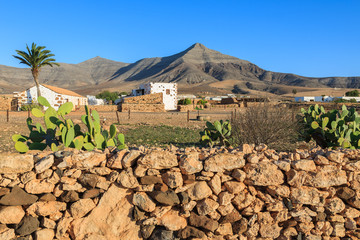 Fototapete - Traditional farm house in Tefia village with cactus plants in foreground, Fuerteventura, Canary Islands, Spain