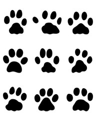 Black footprints of rabbits on a white background