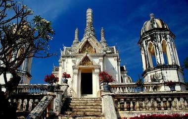 Phetchaburi, Thailand - January 4, 2010:  Phra Thinang Wichien Prasat with its four corner towers and small central Prang at the Phra Nakhon Khiri 1859 Royal Palace  *