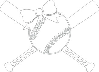 Baseball/Softball with Crossed Bats & Bow