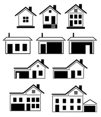 Silhouettes of houses. Isolated on white