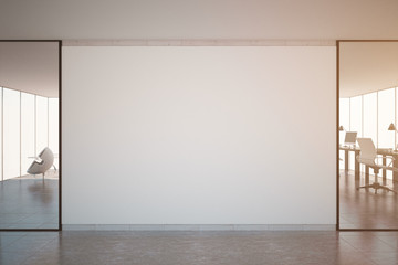 Office with blank wall