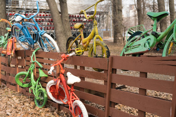 colorful bicycles on the fence