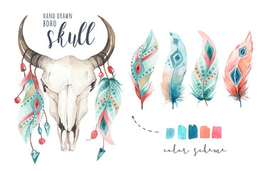 Watercolor bohemian cow skull.  Western mammals. Watercolour hipster deer boho decoration print antlers. flowers, feathers. Isolated on white background. Boho style.  Hand drawn ethnic themed design.
