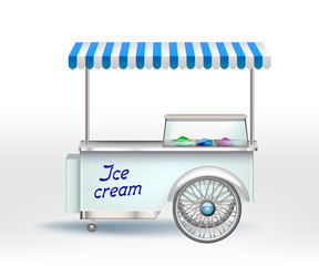 White and blue ice cream cart. Food truck Vector illustration. Shop on wheels with the goods