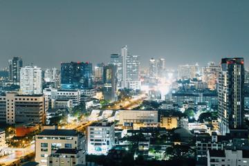 Illuminated Bangkok at night