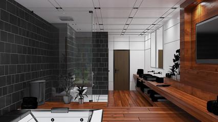 3D Interior rendering of a modern bathroom