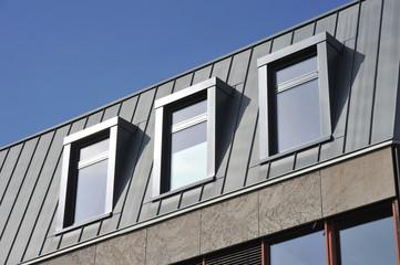 Stehfalz-Metall-Dach mit Gaubenfenstern