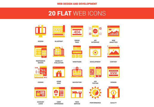 20 Red and Yellow Web Design and Development Icons