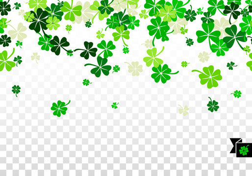 Seamless border background with four leaved greenery clover and shamrock for Saint Patrick's Day greeting isolated on white transparent background. Vector illustration