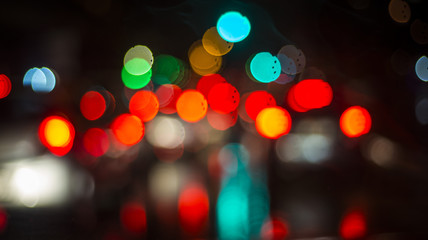 Colorful bokeh lights in blur night background