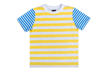 kidswear, striped summer undershirt isolated on a white background