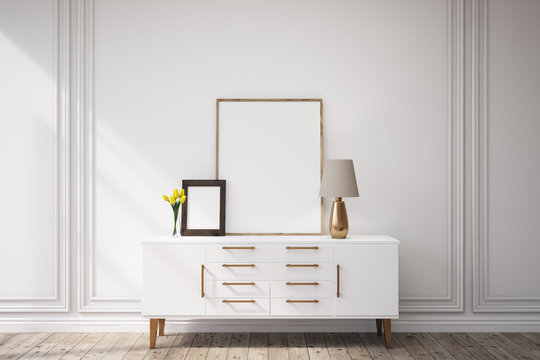 Cabinet with framed pictures