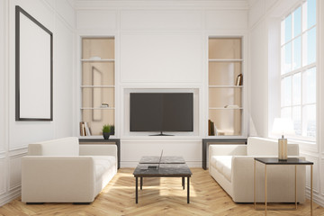 Living room with a tv, front
