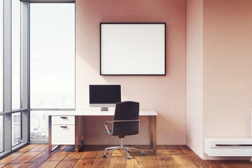 Pink wall workplace with poster