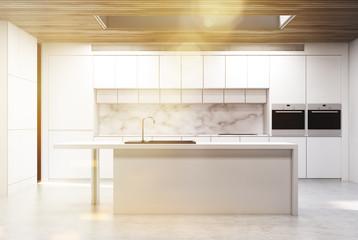 Kitchen isle, marble, toned
