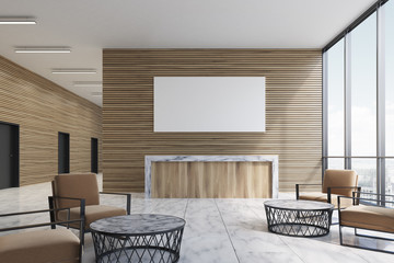 Wooden reception in furnished lobby, poster