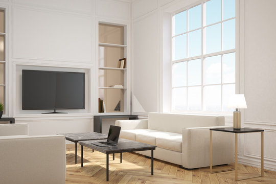 Living room with a tv, side