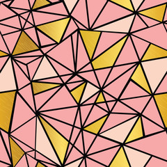 Vector Salmon Pink and Gold Foil Geometric Mosaic Triangles Repeat Seamless Pattern Background. Can Be Used For Fabric, Wallpaper, Stationery, Packaging.