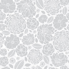 Vector Silver Grey White Mosaic Flowers Seamless Repeat Pattern Background Design. Great For Elegant wedding invitations, anniversary, packaging, fabric, wallpaper.