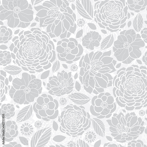 "Backdrops Silver Wedding Invitations: ""Vector Silver Grey White Mosaic Flowers Seamless Repeat"