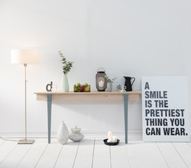 home style with desk and white wall background