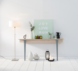 picture and desk and near home objects with lamp
