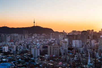 Scenery of Namsan Seoul Tower viewed from Naksan Park in Seoul at sunset